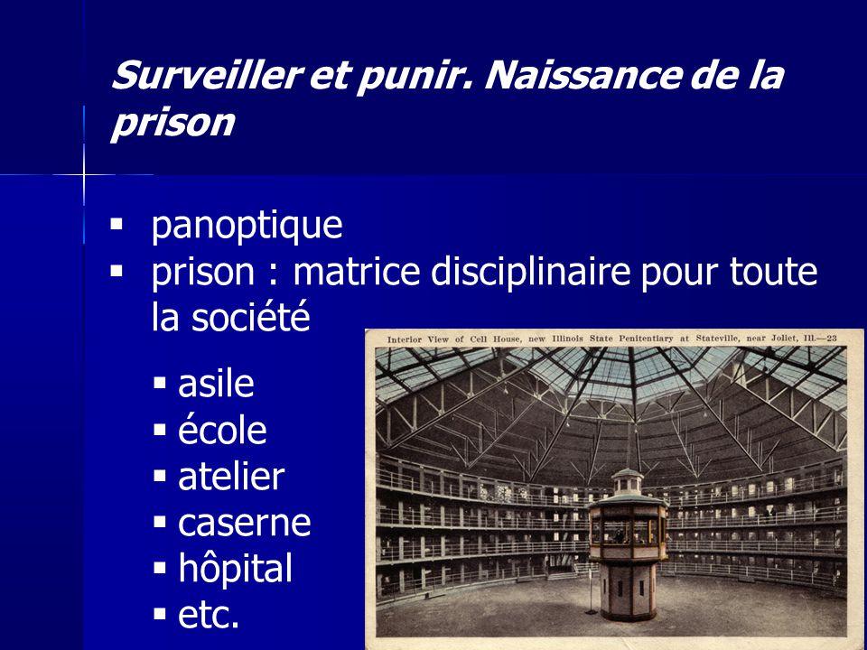 Surveiller et punir. Naissance de la prison panoptique prison : matrice disciplinaire pour toute la société asile école atelier caserne hôpital etc.