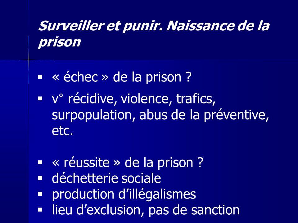 Surveiller et punir. Naissance de la prison « échec » de la prison ? v° récidive, violence, trafics, surpopulation, abus de la préventive, etc. « réus