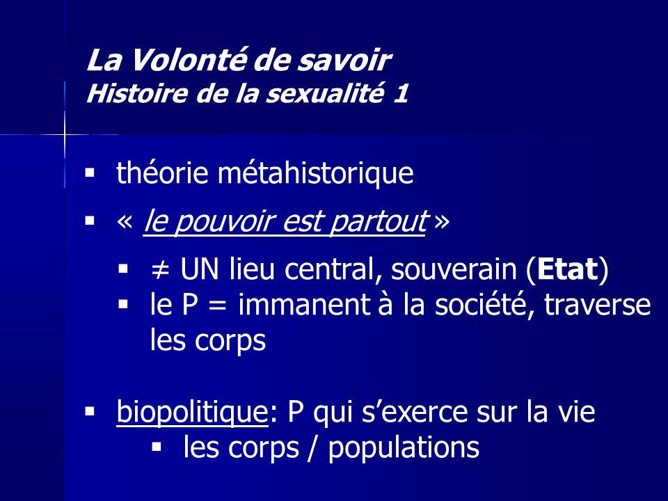La Volonté de savoir Histoire de la sexualité 1 théorie métahistorique « le pouvoir est partout » UN lieu central, souverain (Etat) le P = immanent à
