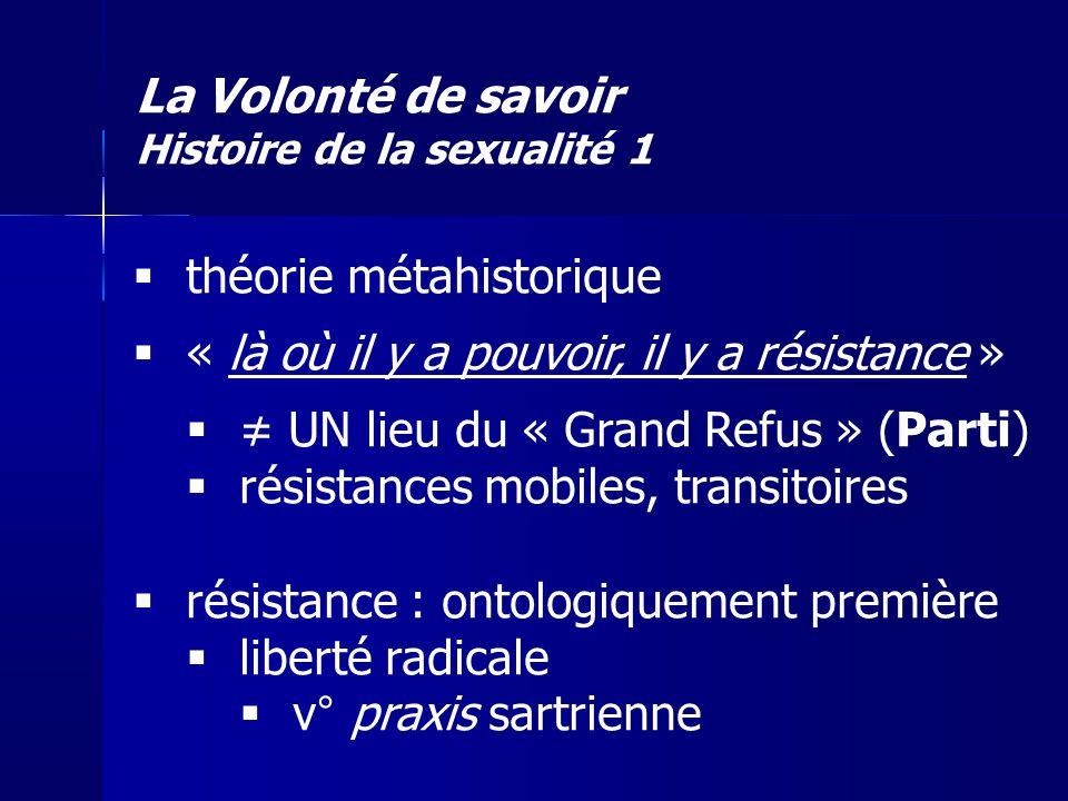 La Volonté de savoir Histoire de la sexualité 1 théorie métahistorique « là où il y a pouvoir, il y a résistance » UN lieu du « Grand Refus » (Parti)