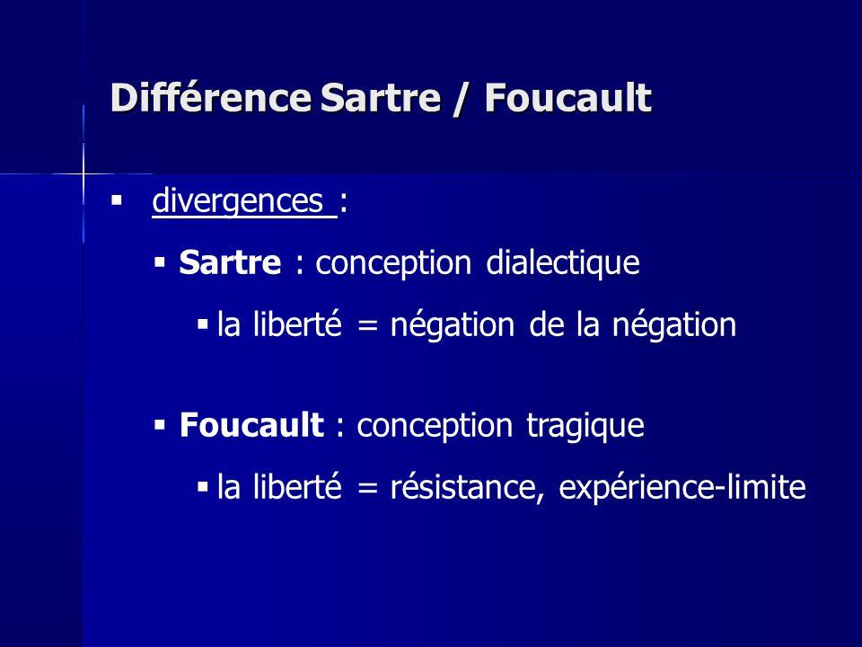 divergences : Sartre : conception dialectique la liberté = négation de la négation Foucault : conception tragique la liberté = résistance, expérience-