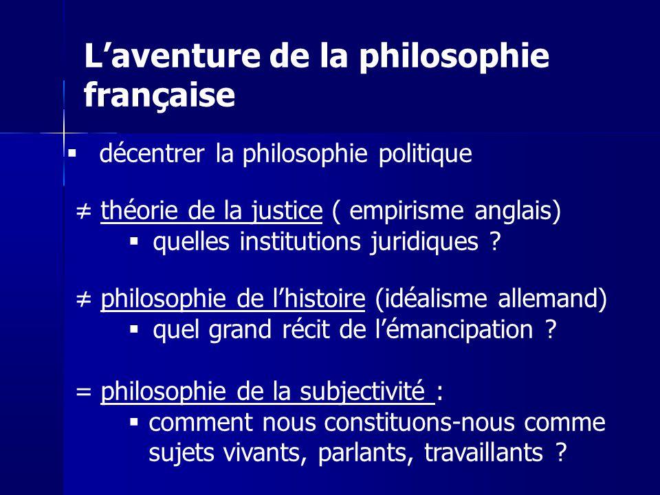 décentrer la philosophie politique théorie de la justice ( empirisme anglais) quelles institutions juridiques ? philosophie de lhistoire (idéalisme al