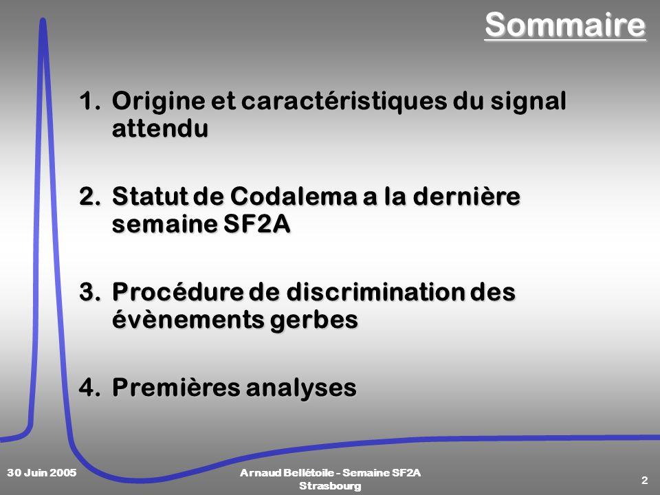2 30 Juin 2005Arnaud Bellétoile - Semaine SF2A StrasbourgSommaire 1.Origine et caractéristiques du signal attendu 2.Statut de Codalema a la dernière semaine SF2A 3.Procédure de discrimination des évènements gerbes 4.Premières analyses