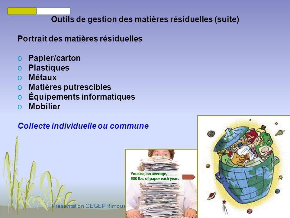 Présentation CEGEP Rimouski - 23 sept. 2010 par Marc-Eddy JONATHAS Outils de gestion des matières résiduelles oIntégration politique et administrative