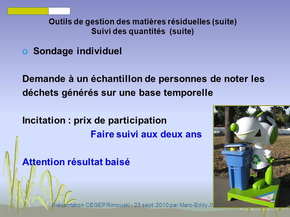 Présentation CEGEP Rimouski - 23 sept. 2010 par Marc-Eddy JONATHAS oAuprès de la firme collectrice de déchets Outils de gestion des matières résiduell