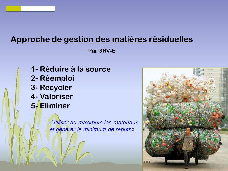 Projet de politique québécoise de gestion des matières résiduelles Plan daction 2010-2015 Allier économie et environnement Contient 3 enjeux : Mettre