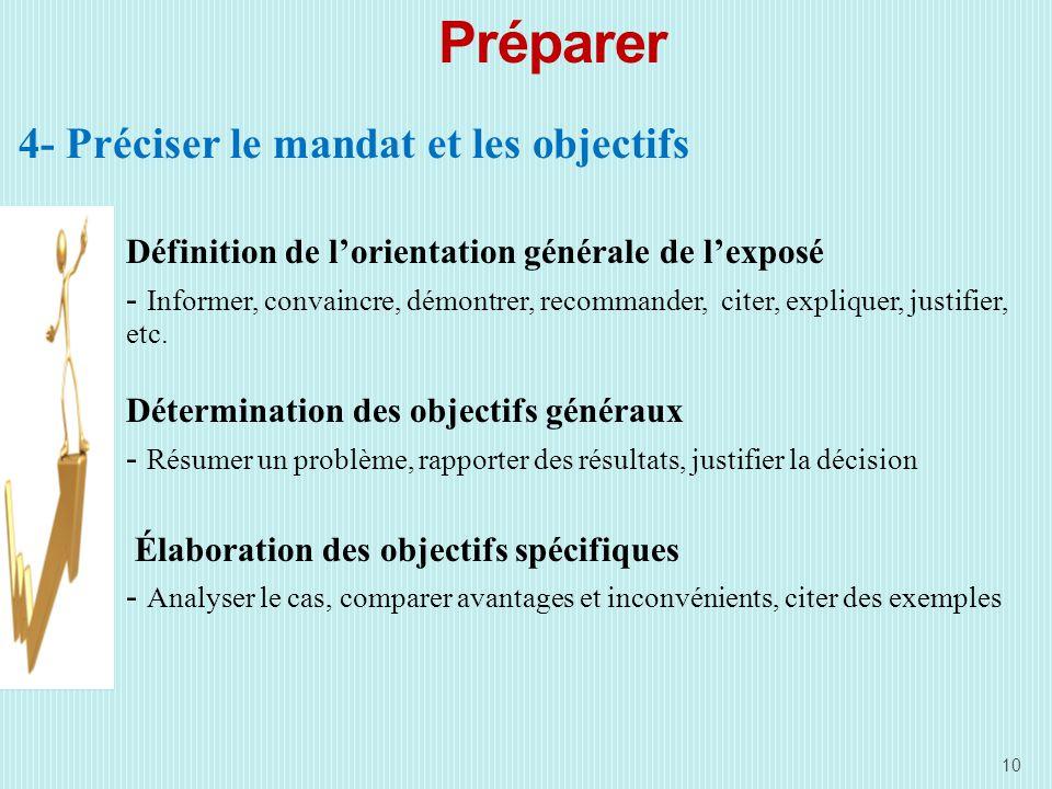 Préparer 4- Préciser le mandat et les objectifs Définition de lorientation générale de lexposé - Informer, convaincre, démontrer, recommander, citer, expliquer, justifier, etc.