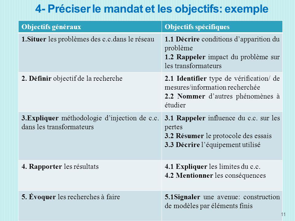 4- Préciser le mandat et les objectifs: exemple Objectifs générauxObjectifs spécifiques 1.Situer les problèmes des c.c.dans le réseau1.1 Décrire conditions dapparition du problème 1.2 Rappeler impact du problème sur les transformateurs 2.