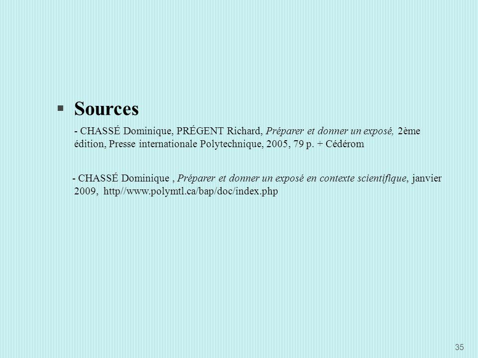 Sources - CHASSÉ Dominique, PRÉGENT Richard, Préparer et donner un exposé, 2ème édition, Presse internationale Polytechnique, 2005, 79 p.