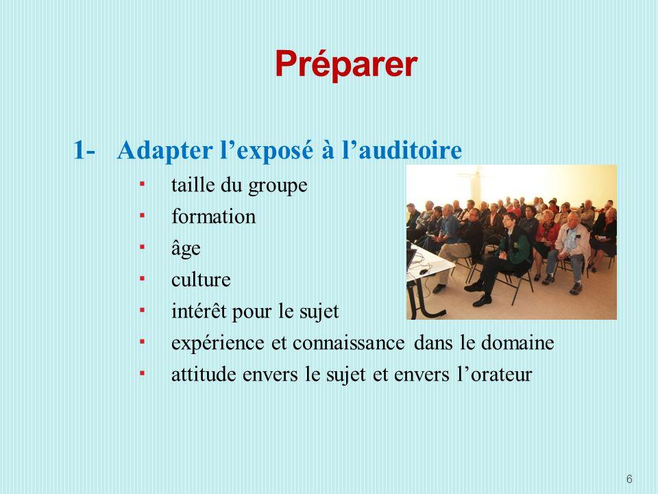 Préparer 1-Adapter lexposé à lauditoire taille du groupe formation âge culture intérêt pour le sujet expérience et connaissance dans le domaine attitude envers le sujet et envers lorateur 6