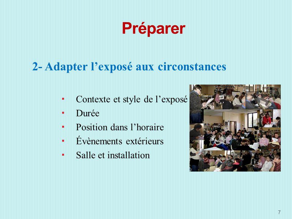 Préparer 2- Adapter lexposé aux circonstances Contexte et style de lexposé Durée Position dans lhoraire Évènements extérieurs Salle et installation 7