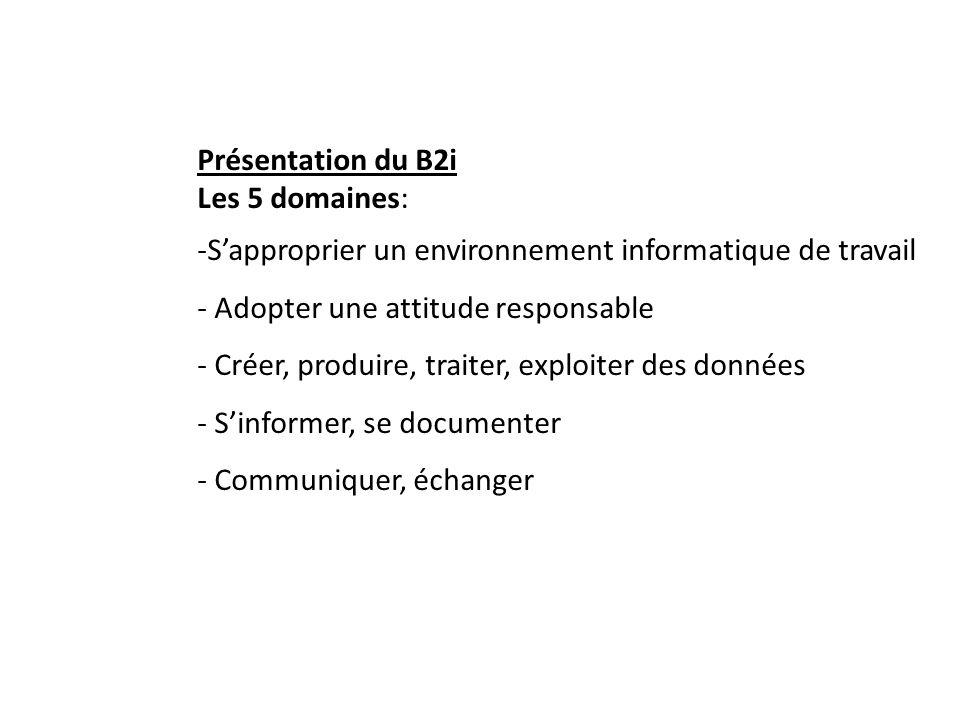 Présentation du B2i Les 5 domaines: -Sapproprier un environnement informatique de travail - Adopter une attitude responsable - Créer, produire, traiter, exploiter des données - Sinformer, se documenter - Communiquer, échanger