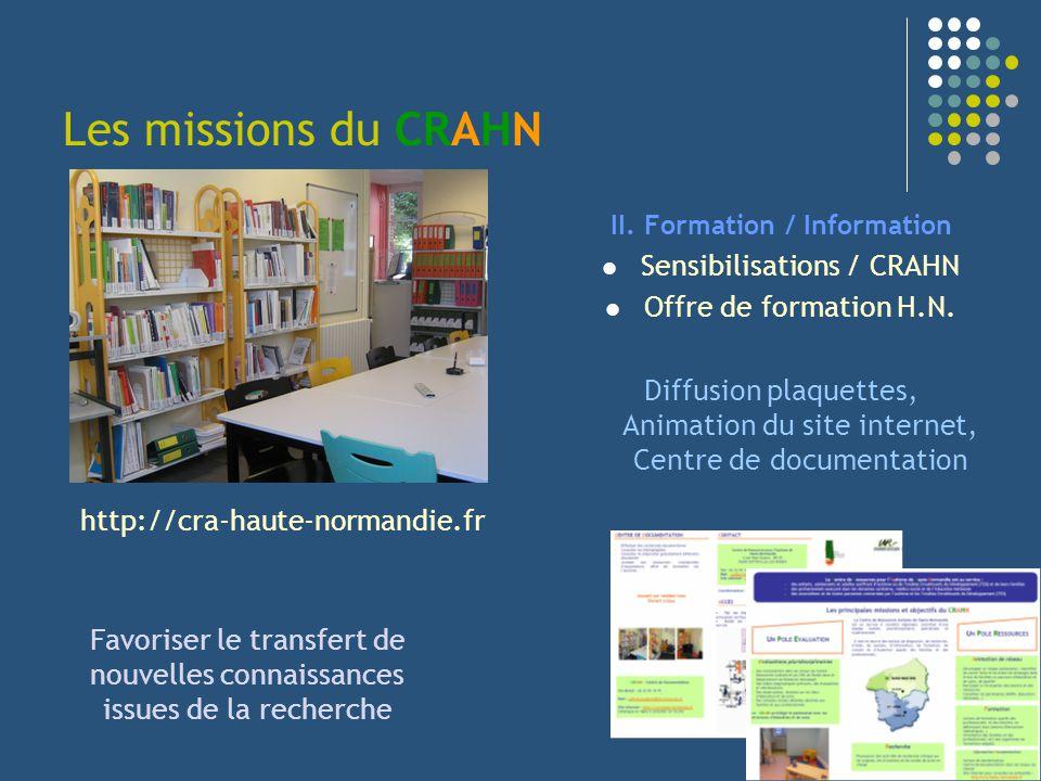 Les missions du CRAHN II. Formation / Information Sensibilisations / CRAHN Offre de formation H.N. Diffusion plaquettes, Animation du site internet, C