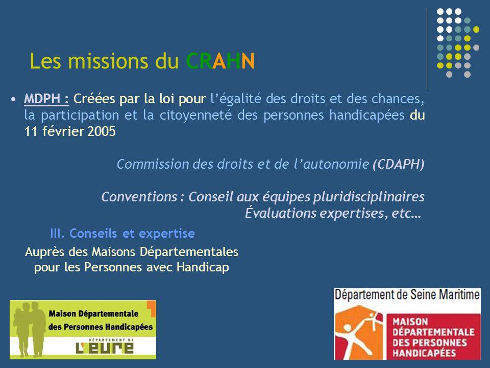 Les missions du CRAHN III. Conseils et expertise Auprès des Maisons Départementales pour les Personnes avec Handicap MDPH : Créées par la loi pour lég
