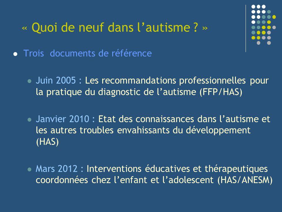 « Quoi de neuf dans lautisme ? » Trois documents de référence Juin 2005 : Les recommandations professionnelles pour la pratique du diagnostic de lauti