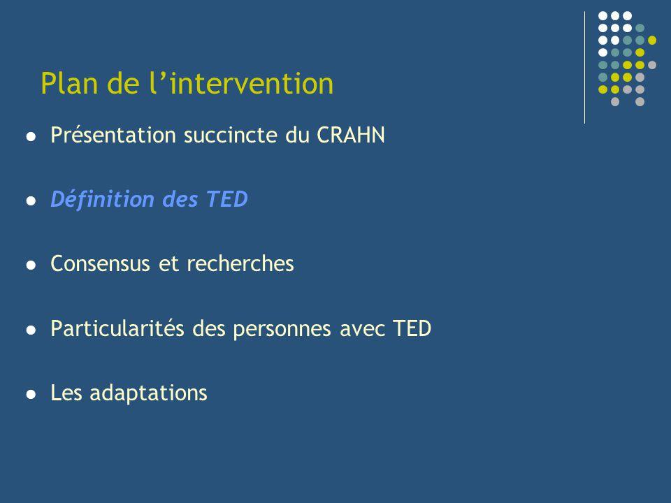 Plan de lintervention Présentation succincte du CRAHN Définition des TED Consensus et recherches Particularités des personnes avec TED Les adaptations