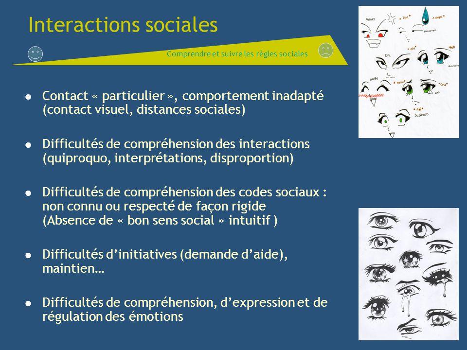 Interactions sociales Contact « particulier », comportement inadapté (contact visuel, distances sociales) Difficultés de compréhension des interaction