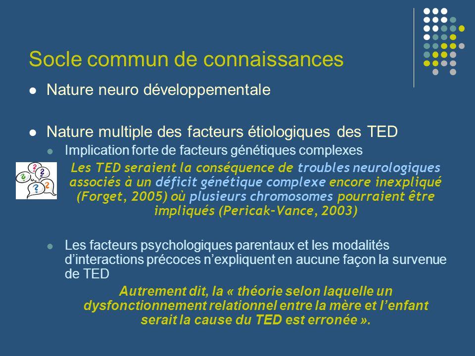 Nature neuro développementale Nature multiple des facteurs étiologiques des TED Implication forte de facteurs génétiques complexes Les TED seraient la