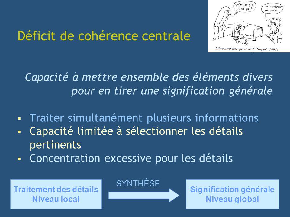 Capacité à mettre ensemble des éléments divers pour en tirer une signification générale Traiter simultanément plusieurs informations Capacité limitée