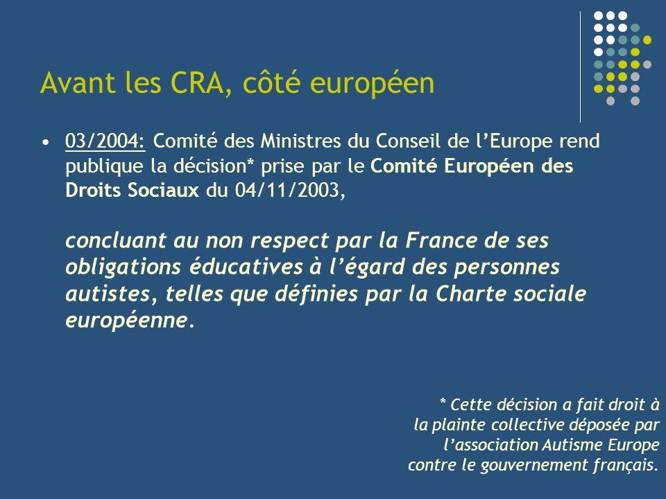 Avant les CRA, côté européen 03/2004: Comité des Ministres du Conseil de lEurope rend publique la décision* prise par le Comité Européen des Droits So