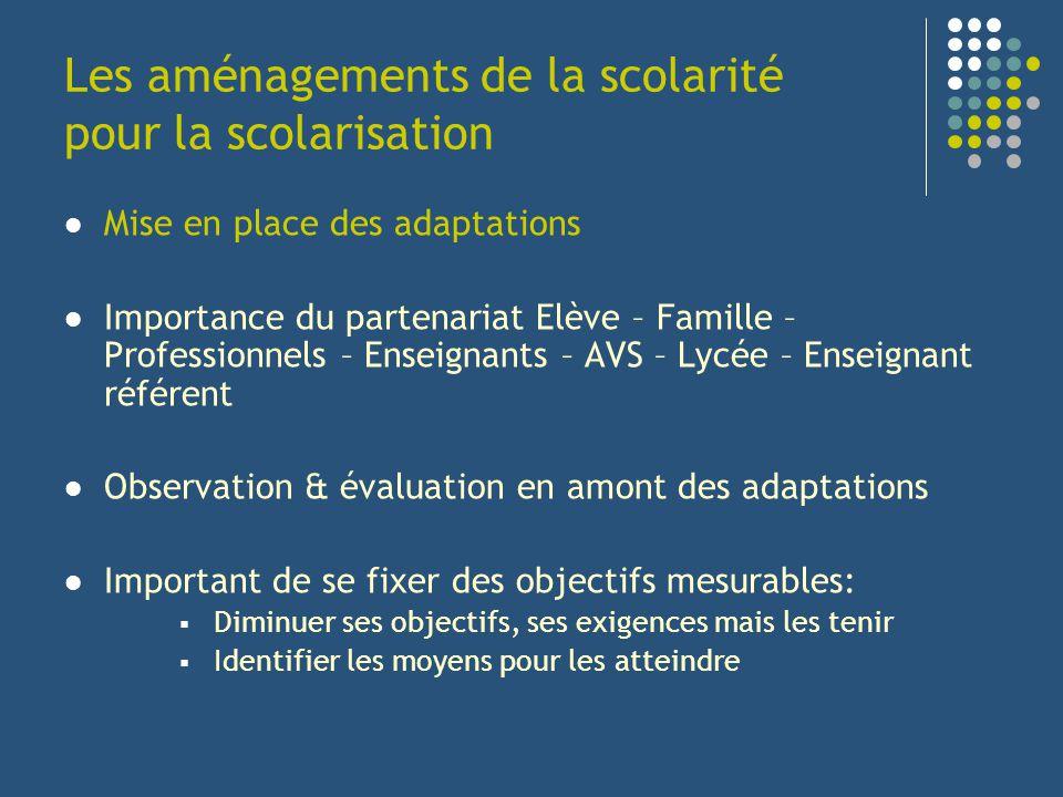 Les aménagements de la scolarité pour la scolarisation Mise en place des adaptations Importance du partenariat Elève – Famille – Professionnels – Ense