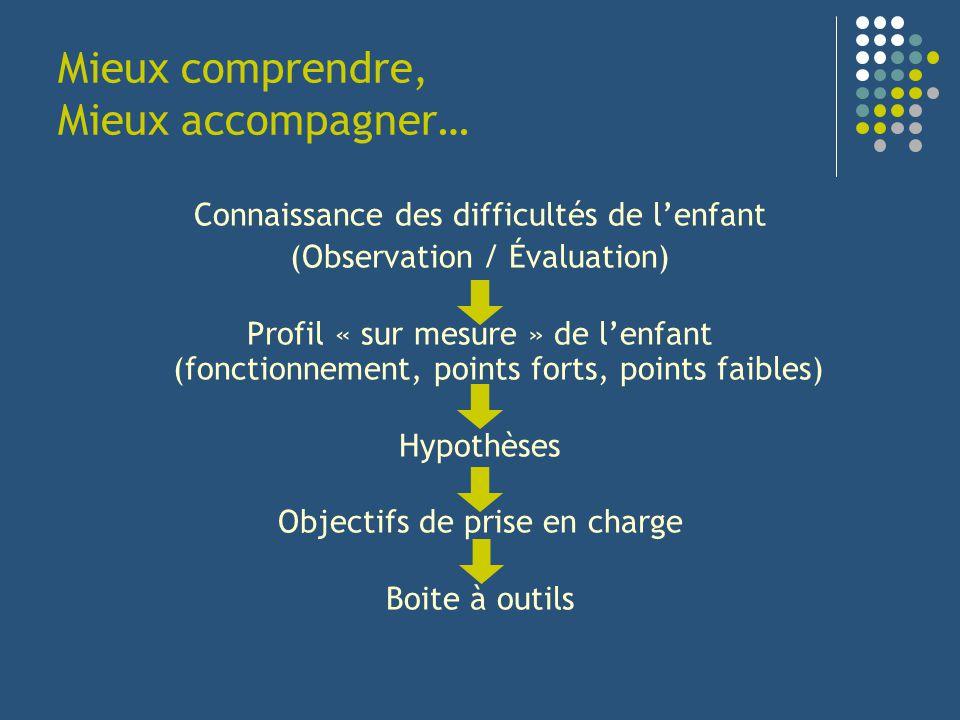 Mieux comprendre, Mieux accompagner… Connaissance des difficultés de lenfant (Observation / Évaluation) Profil « sur mesure » de lenfant (fonctionneme
