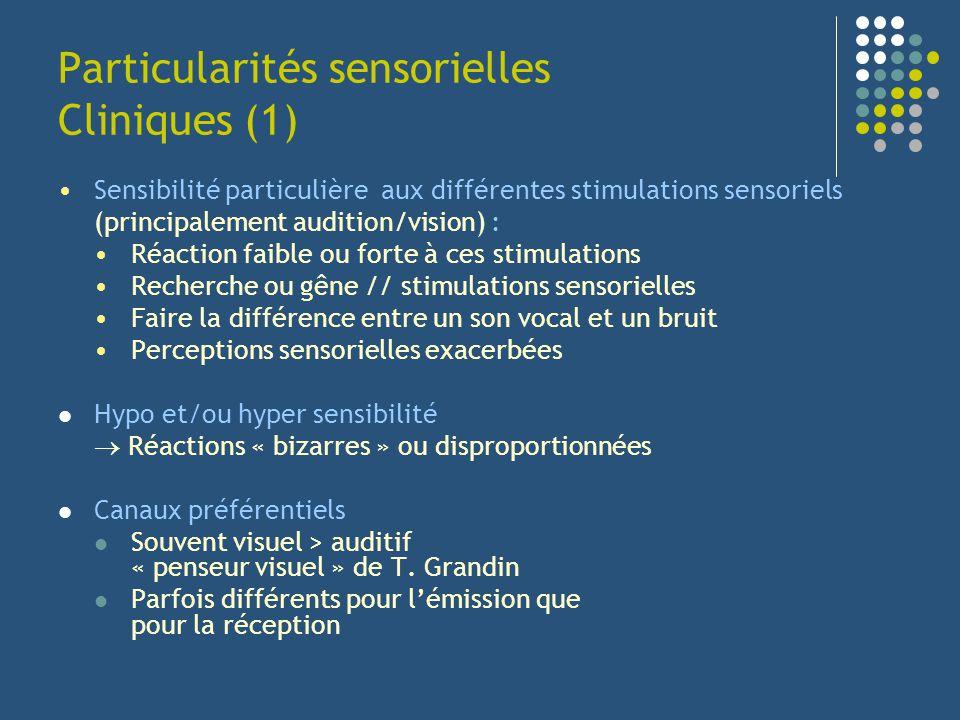 Particularités sensorielles Cliniques (1) Sensibilité particulière aux différentes stimulations sensoriels (principalement audition/vision) : Réaction