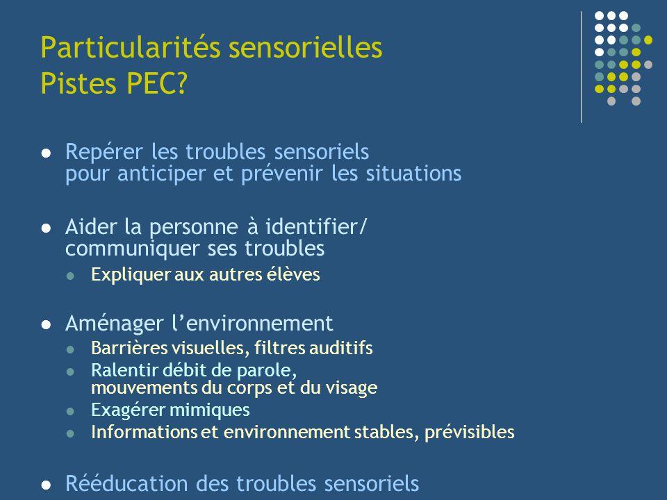 Particularités sensorielles Pistes PEC? Repérer les troubles sensoriels pour anticiper et prévenir les situations Aider la personne à identifier/ comm