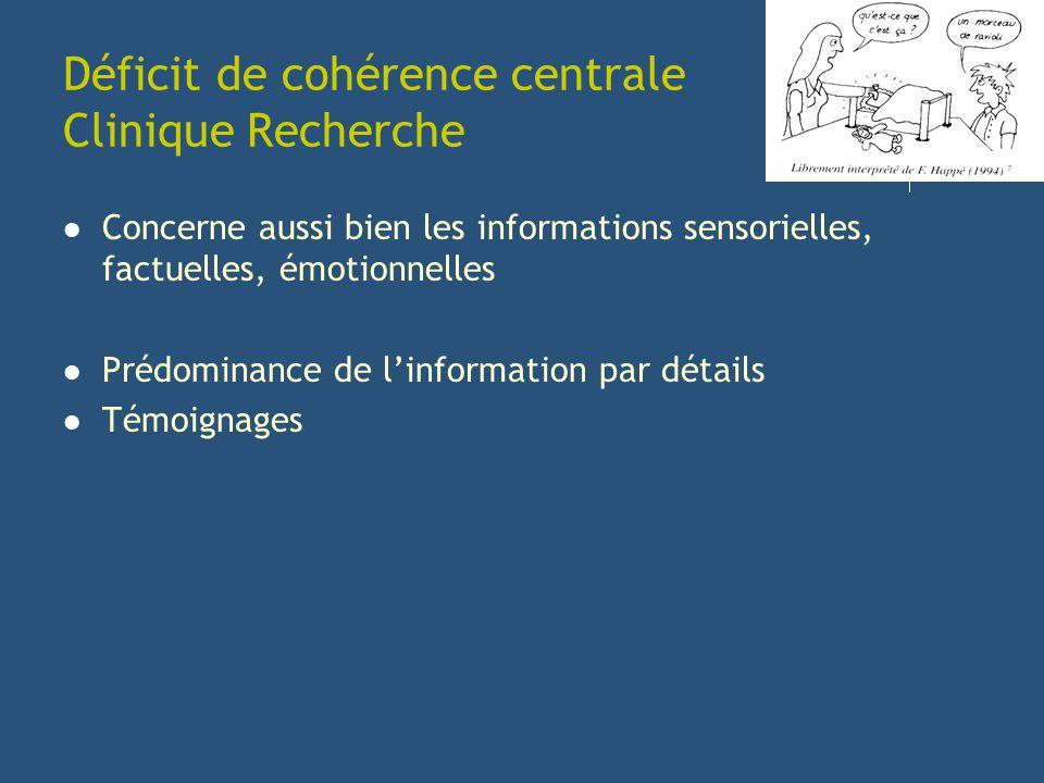 Déficit de cohérence centrale Clinique Recherche Concerne aussi bien les informations sensorielles, factuelles, émotionnelles Prédominance de linforma