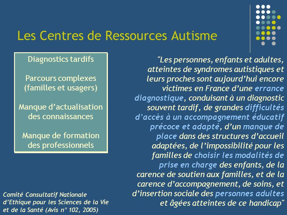 Les Centres de Ressources Autisme 1999 : Premiers CRA créés à titre expérimental (Montpellier, Tours, Strasbourg, Brest) Circ.