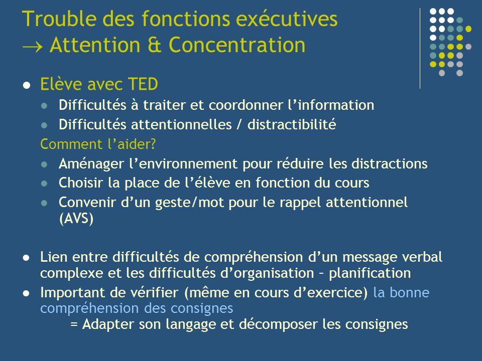 Trouble des fonctions exécutives Attention & Concentration Elève avec TED Difficultés à traiter et coordonner linformation Difficultés attentionnelles