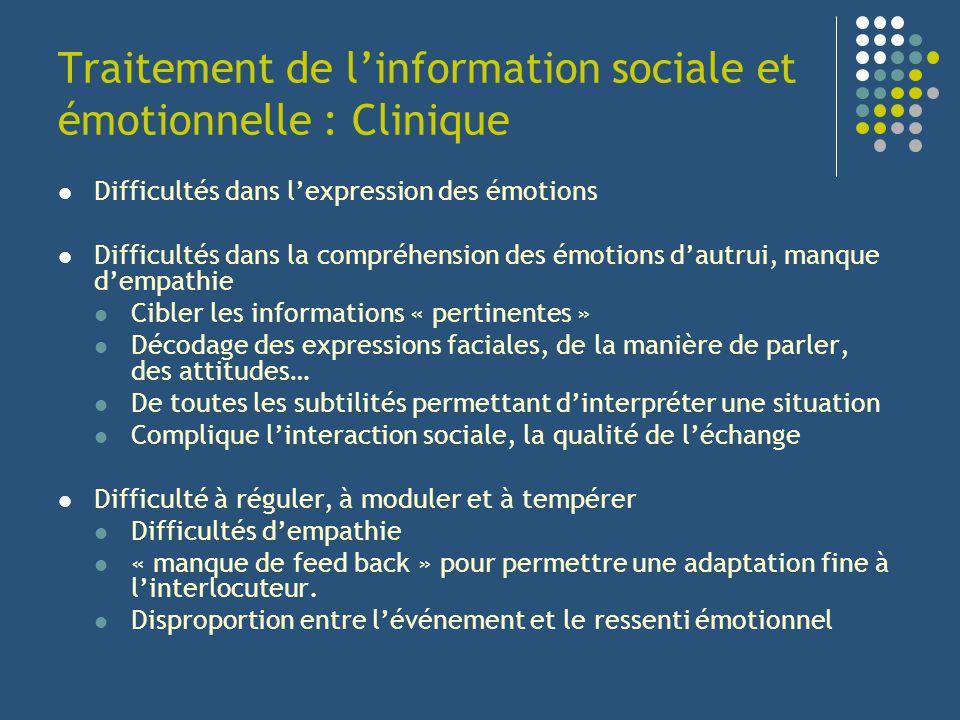 Traitement de linformation sociale et émotionnelle : Clinique Difficultés dans lexpression des émotions Difficultés dans la compréhension des émotions