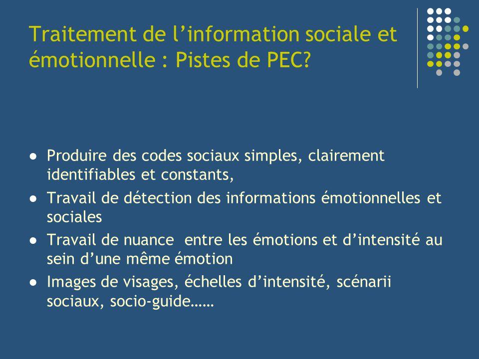 Traitement de linformation sociale et émotionnelle : Pistes de PEC? Produire des codes sociaux simples, clairement identifiables et constants, Travail