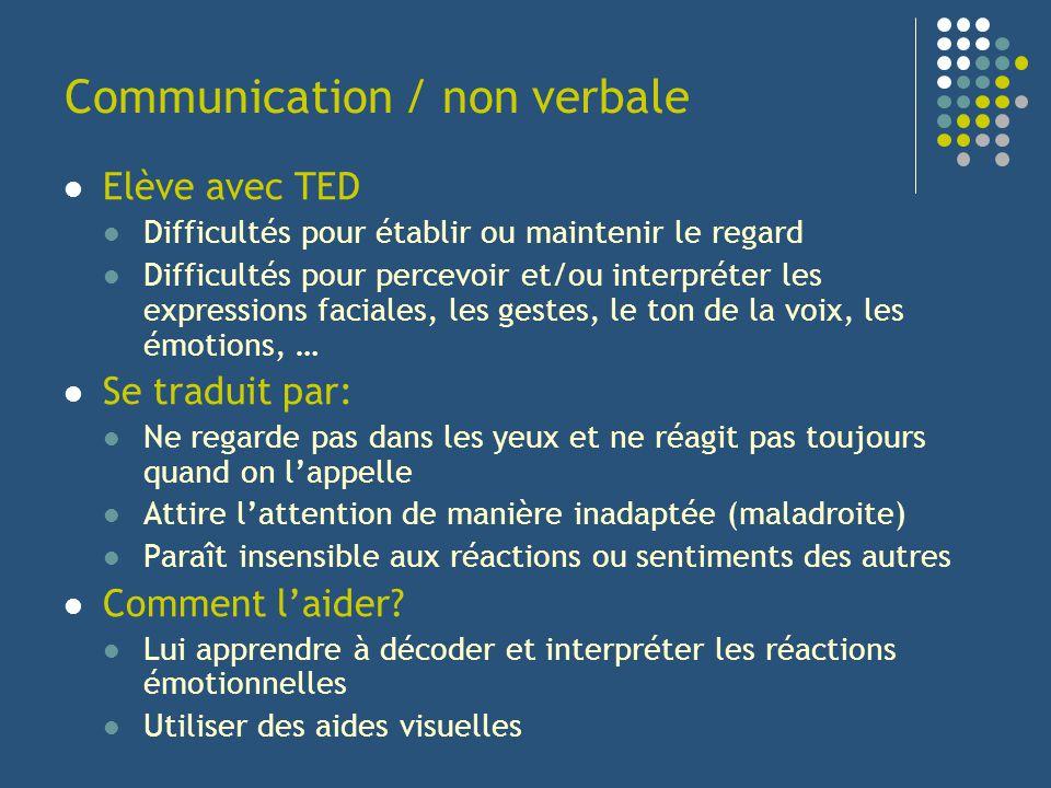 Communication / non verbale Elève avec TED Difficultés pour établir ou maintenir le regard Difficultés pour percevoir et/ou interpréter les expression