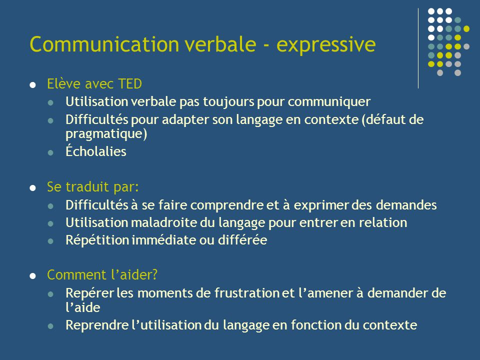 Communication verbale - expressive Elève avec TED Utilisation verbale pas toujours pour communiquer Difficultés pour adapter son langage en contexte (