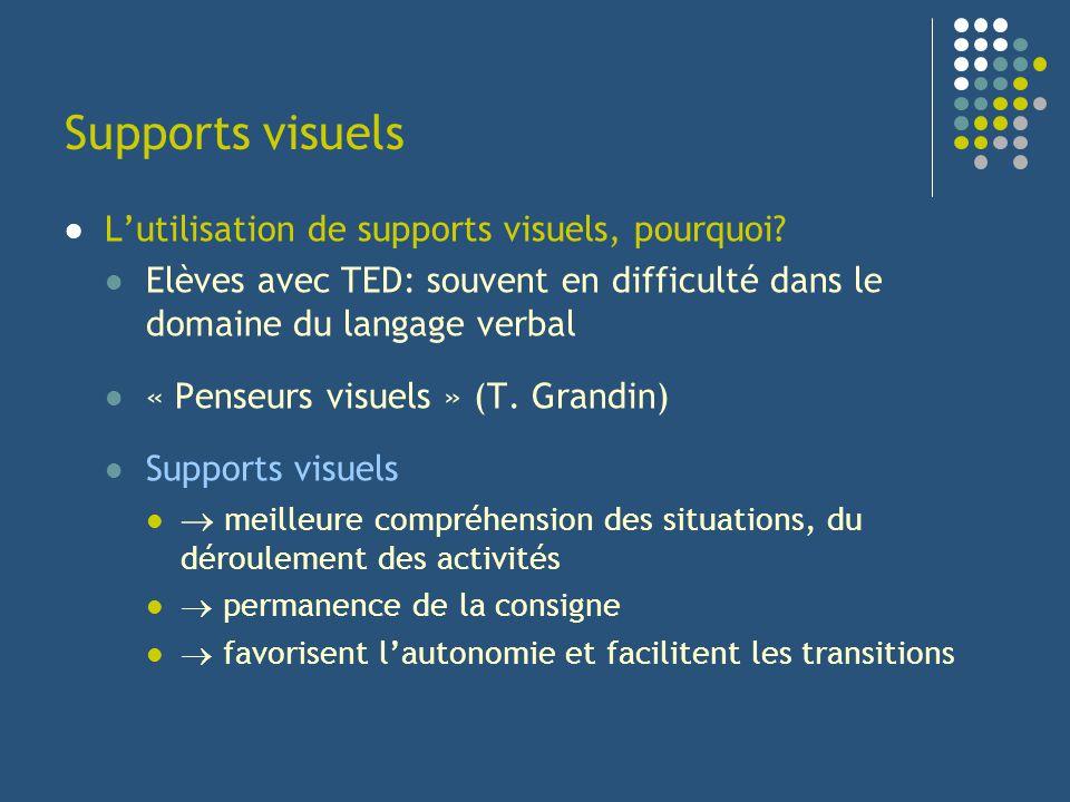 Supports visuels Lutilisation de supports visuels, pourquoi? Elèves avec TED: souvent en difficulté dans le domaine du langage verbal « Penseurs visue