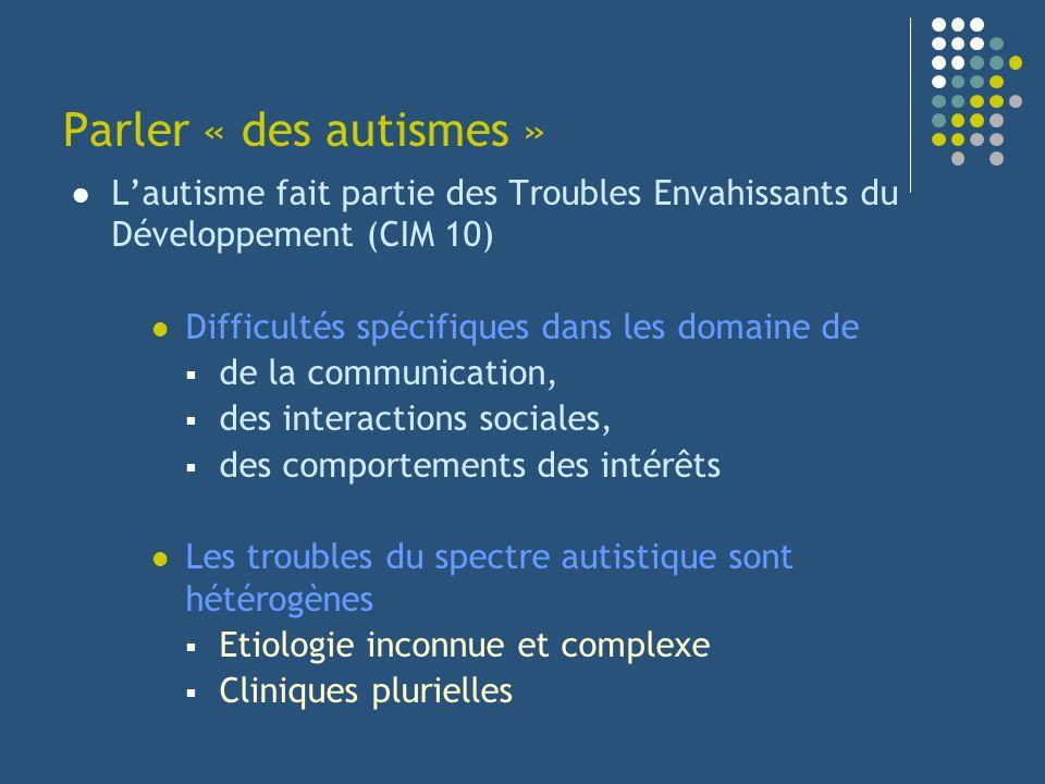 Lautisme fait partie des Troubles Envahissants du Développement (CIM 10) Difficultés spécifiques dans les domaine de de la communication, des interact