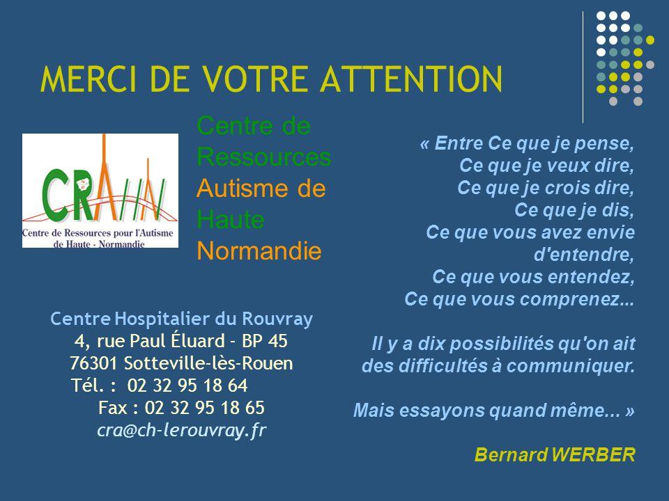 MERCI DE VOTRE ATTENTION Centre Hospitalier du Rouvray 4, rue Paul Éluard - BP 45 76301 Sotteville-lès-Rouen Tél. : 02 32 95 18 64 Fax : 02 32 95 18 6