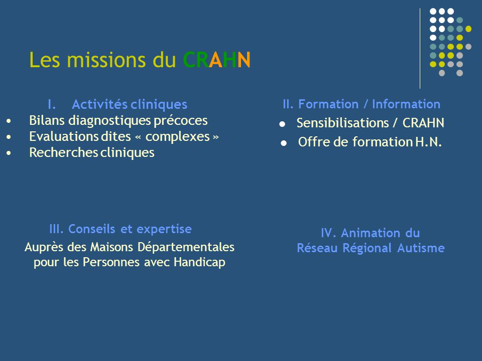 Les missions du CRAHN II. Formation / Information Sensibilisations / CRAHN Offre de formation H.N. III. Conseils et expertise Auprès des Maisons Dépar