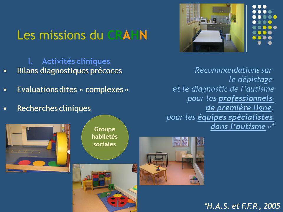 Les missions du CRAHN I.Activités cliniques Bilans diagnostiques précoces Evaluations dites « complexes » Recherches cliniques Groupe habiletés social