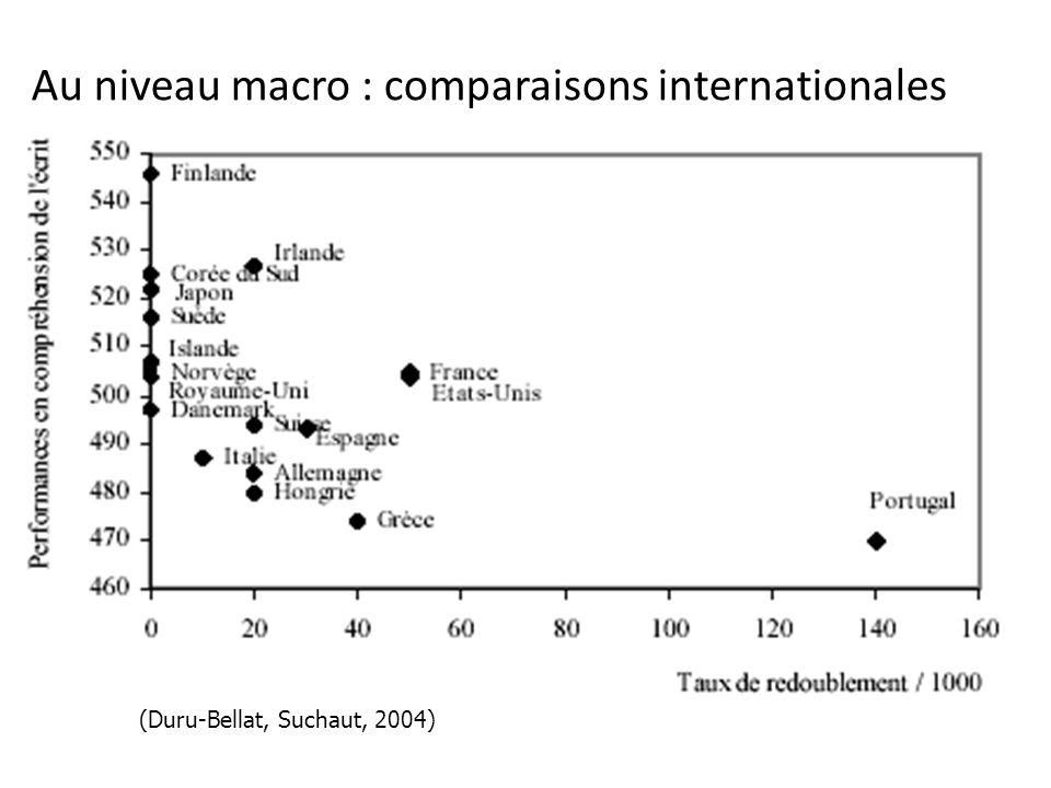 Au niveau macro : comparaisons internationales (Duru-Bellat, Suchaut, 2004)