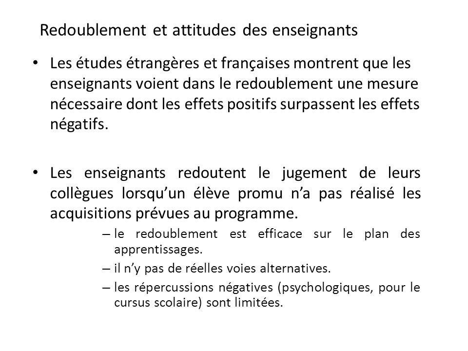 Redoublement et attitudes des enseignants Les études étrangères et françaises montrent que les enseignants voient dans le redoublement une mesure néce