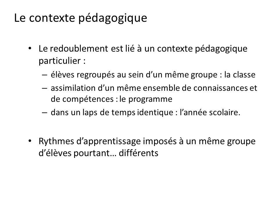 Le contexte pédagogique Le redoublement est lié à un contexte pédagogique particulier : – élèves regroupés au sein dun même groupe : la classe – assim
