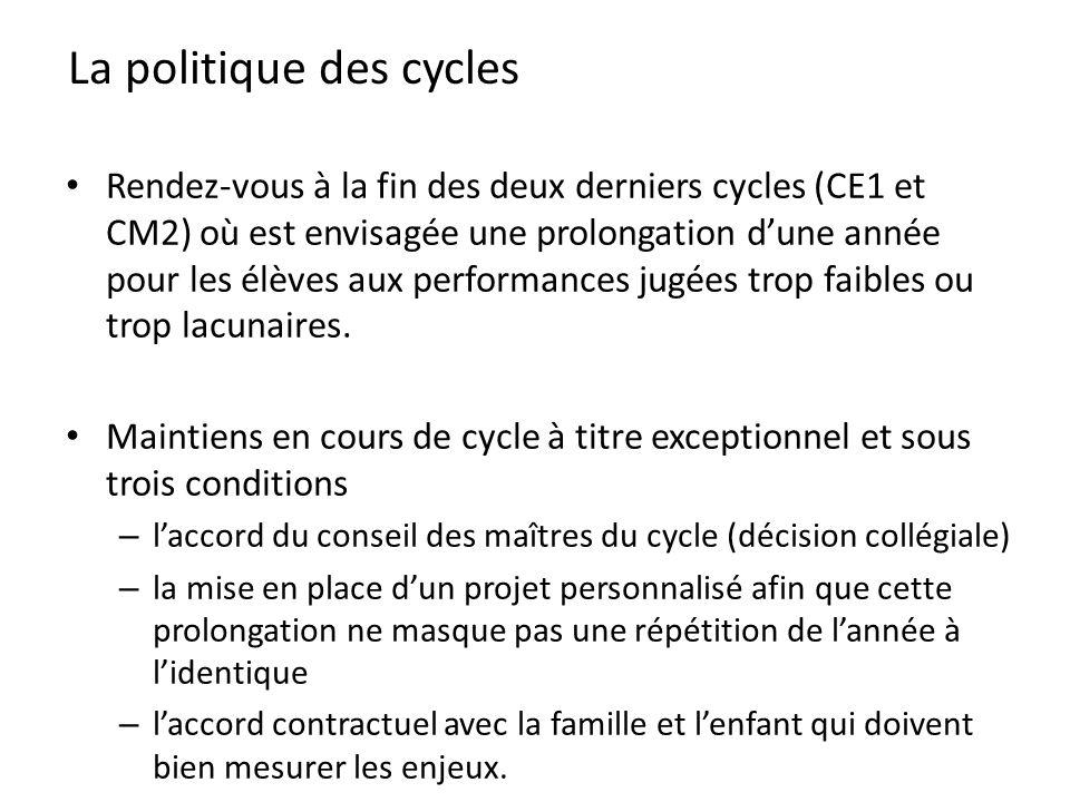 La politique des cycles Rendez-vous à la fin des deux derniers cycles (CE1 et CM2) où est envisagée une prolongation dune année pour les élèves aux pe