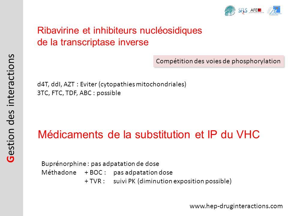 d4T, ddI, AZT : Eviter (cytopathies mitochondriales) 3TC, FTC, TDF, ABC : possible Ribavirine et inhibiteurs nucléosidiques de la transcriptase invers