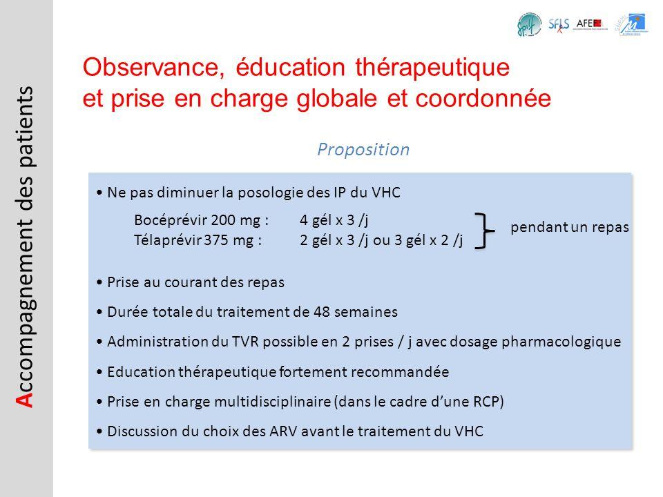 Observance, éducation thérapeutique et prise en charge globale et coordonnée Ne pas diminuer la posologie des IP du VHC Prise au courant des repas Dur