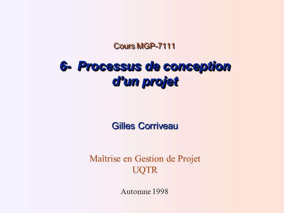 6- Processus de conception dun projet Cours MGP-7111 6- Processus de conception dun projet Gilles Corriveau Maîtrise en Gestion de Projet UQTR Automne 1998