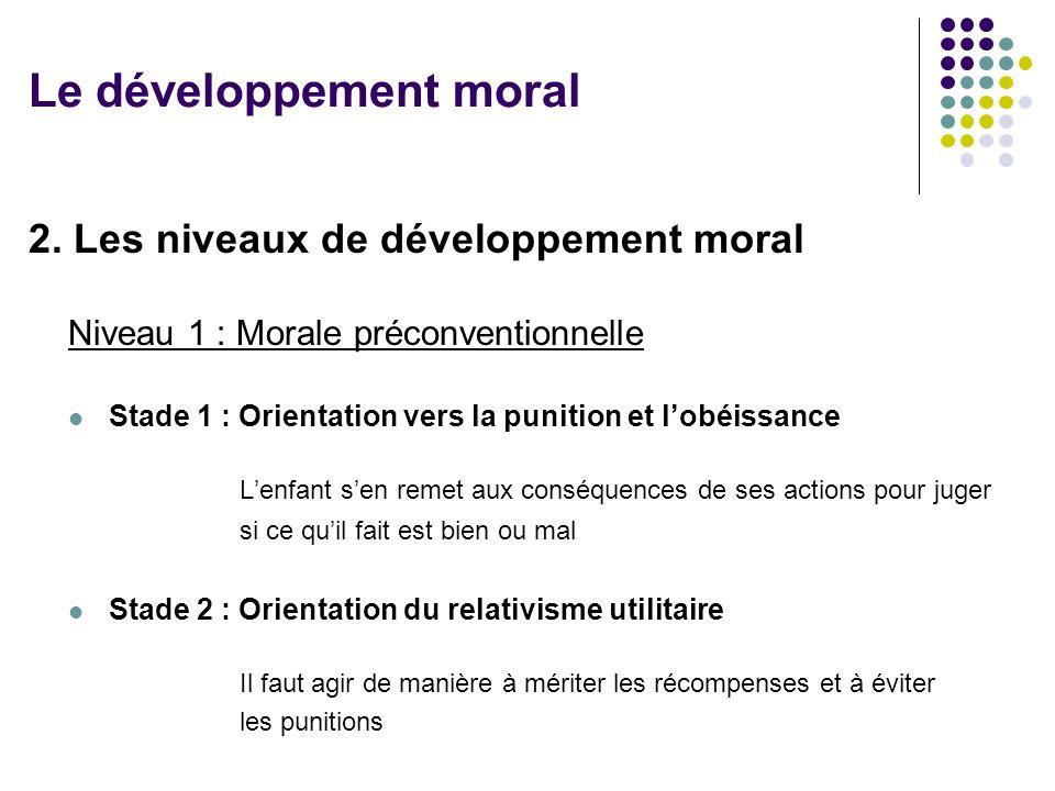 2. Les niveaux de développement moral Niveau 1 : Morale préconventionnelle Stade 1 : Orientation vers la punition et lobéissance Lenfant sen remet aux