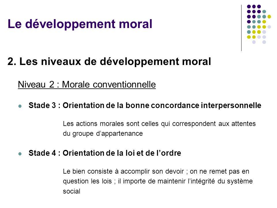 2. Les niveaux de développement moral Niveau 2 : Morale conventionnelle Stade 3 : Orientation de la bonne concordance interpersonnelle Les actions mor
