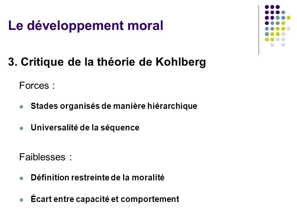 3. Critique de la théorie de Kohlberg Forces : Stades organisés de manière hiérarchique Universalité de la séquence Faiblesses : Définition restreinte